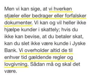 Jyske bank siger de hverken bedrager forfalsker og overholder alle love og regler