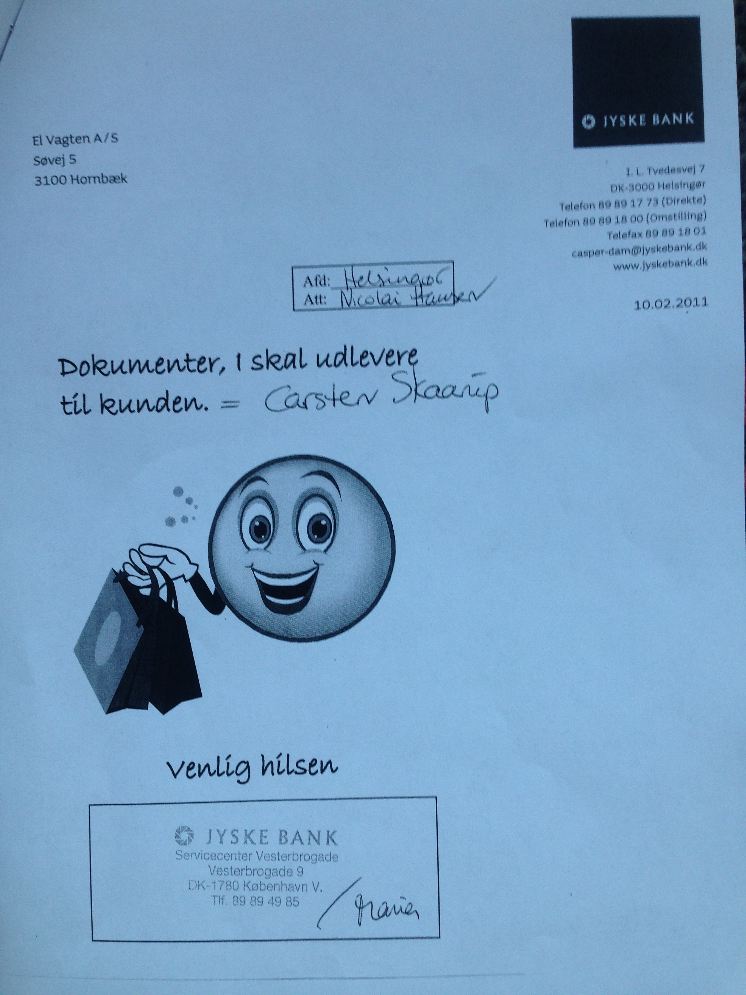 var skriver man in vinnar mail
